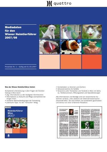 Mediadaten für den Wiener Heimtierführer 2007/08 - PETCOM