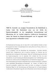 Zur Pressekonferenz der Bundesbank in Sachen Gold - Dr. Peter ...
