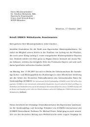 Brief an Herrn Ministerpräsident Dr. Günther Beckstein, MdL