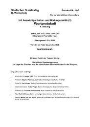 Wortprotokoll der 9. Sitzung des Unterausschusses unter Vorsitz von ...
