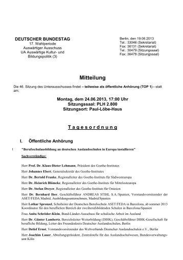 46. Sitzung am Montag, 24. Juni 2013, 17 Uhr - Deutscher Bundestag