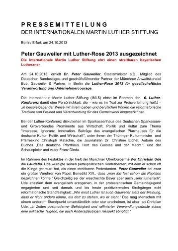 Peter Gauweiler mit Luther-Rose 2013 ausgezeichnet - Die ...