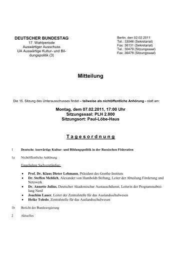 15. Sitzung am Montag, 7. Februar 2011, 17 Uhr - Deutscher ...