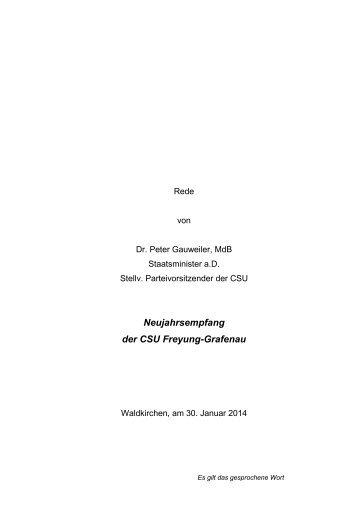 Neujahrsempfang der CSU Freyung-Grafenau - Dr. Peter Gauweiler