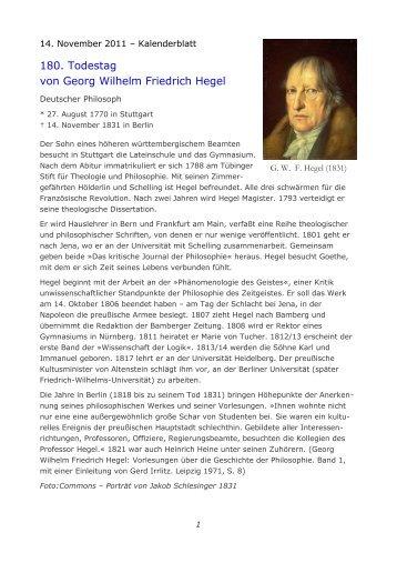 Werke von und über Georg Wilhelm Friedrich Hegel in der Peter ...