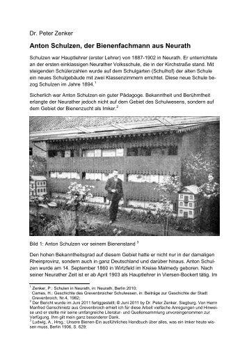 Anton Schulzen, der Bienenfachmann aus Neurath - Dr. Peter Zenker