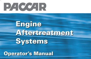 PACCAR Engine Aftertreatment Systems-Operator's Manual