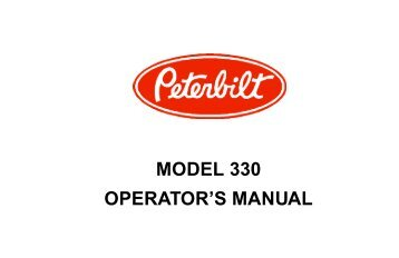 MODEL 330 OPERATOR'S MANUAL - Peterbilt Motors Company
