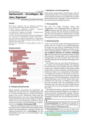 Grundlagen, Sachen, Eigentum - von, mit und für Peter Felix Schuster