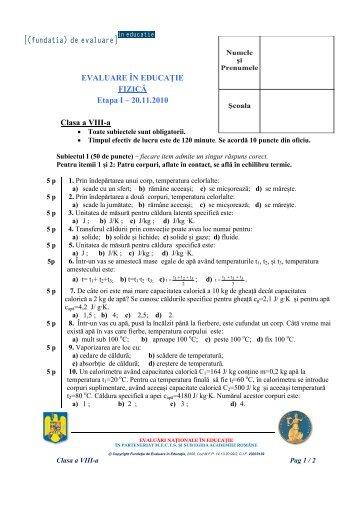 Subiect - Fundatia de Evaluare in Educatie