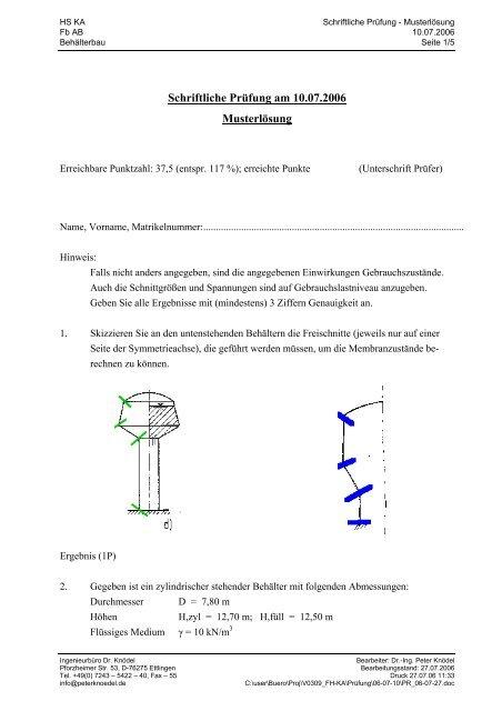 Schriftliche Prüfung am 10.07.2006 Musterlösung - Ingenieurbüro Dr ...