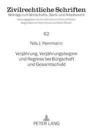 2. Teil: Die Auswirkungen der Verjährung bei ... - Peter Lang