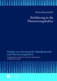 Einführung in die Übersetzungskultur - Peter Lang