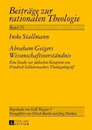 Abraham Geigers Wissenschaftsverständnis - Peter Lang