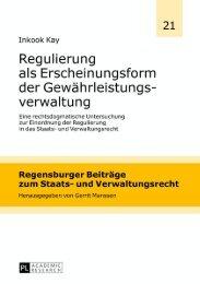 Regulierung als Erscheinungsform der ... - Peter Lang