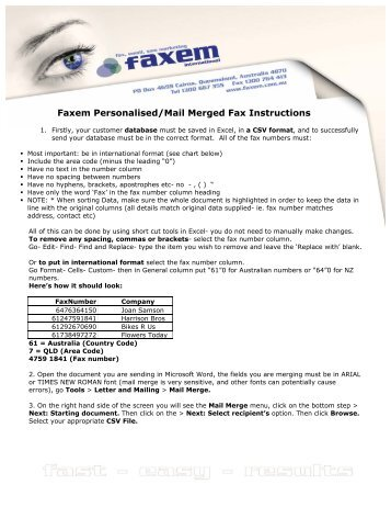 Faxem Personalised/Mail Merged Fax Instructions