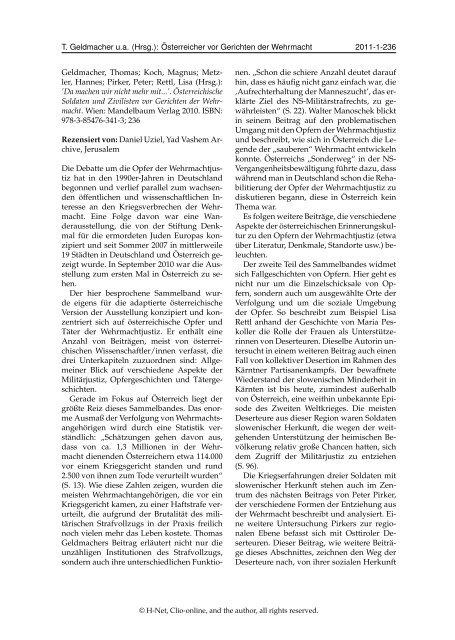 PDF | DANIEL UZIEL, H-Soz-u-Kult