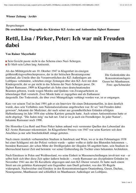 pdf   wiener zeitung - Peter Pirker \ Historiker \ Politikwissenschafter