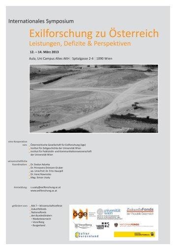 Exilforschung zu Österreich. Leistungen, Defizite ... - Universität Wien