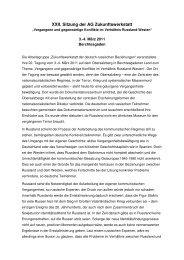 Protokoll 22. Sitzung der AG Zukunftswerkstatt 3.-4. März 2011
