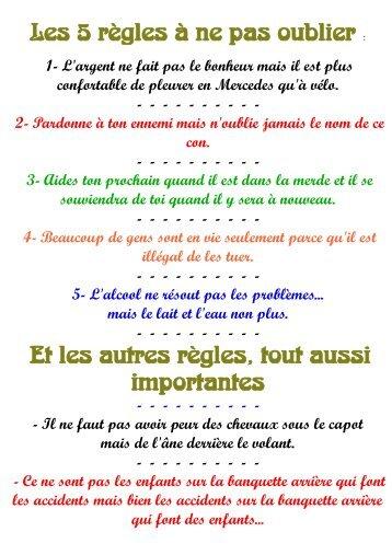 Les 5 règles à ne pas oublier : Et les autres règles, tout ... - Petit Fichier