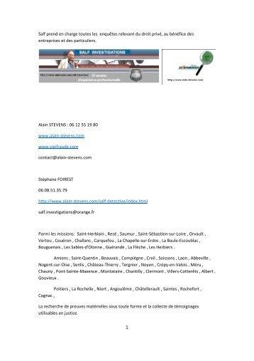 Salf prend en charge toutes les enquêtes relevant du ... - Fichier PDF