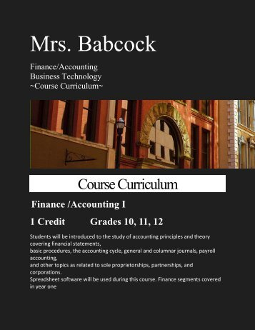 Course Curriculum - Public Schools Of Petoskey