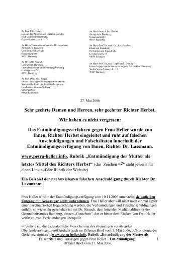 Offener Brief vom 27. Mai 2006 - Petra Heller