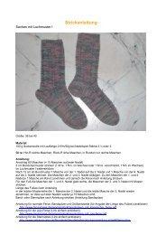 Strickanleitung Socken mit Lochmuster - von Petra Schuster