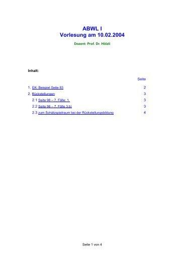 ABWL I Vorlesung am 10.02.2004 - von Petra Schuster