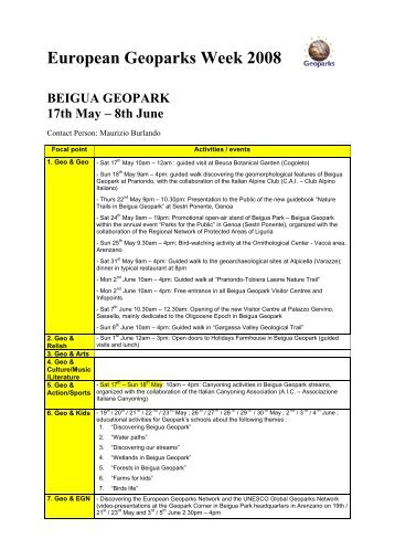 European Geoparks Week 2008 BEIGUA GEOPARK 17th May – 8th ...