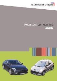 Résultats semestriels 2006 - PEUGEOT Presse