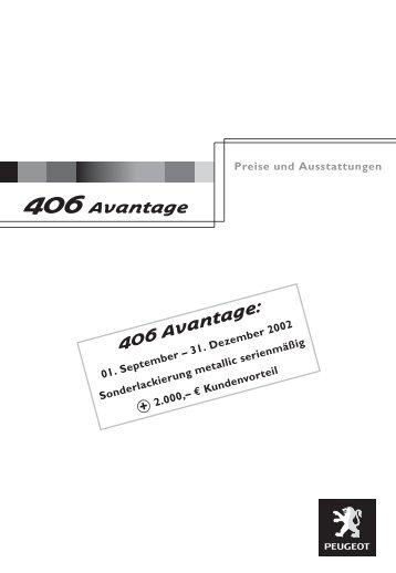 406 Avantage 406 Avantage: - PEUGEOT Presse