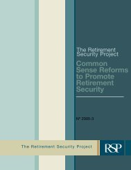 Common Sense Reforms to Promote Retirement Security - The Pew ...
