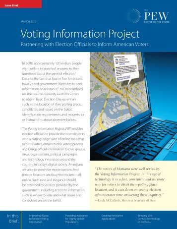 voter information project The voting information project (vip) offers technology tools to provide voters with access to customized election information to help them navigate the voting process and cast an informed vote.