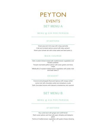 View our events menus - Peyton and Byrne