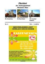 Pfarrblatt Nr. 4 -2012 - bei der Seelsorgeeinheit Pforzheim West