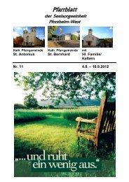 Pfarrblatt Nr. 11-2012 - bei der Seelsorgeeinheit Pforzheim West