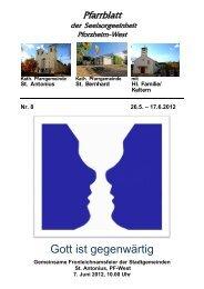 Pfarrblatt Nr. 8 -2012 - bei der Seelsorgeeinheit Pforzheim West