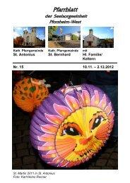 Pfarrblatt Nr. 15-2012 - bei der Seelsorgeeinheit Pforzheim West