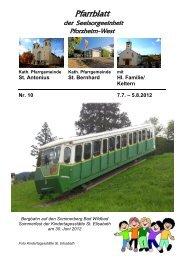 Pfarrblatt Nr. 10 -2012 - bei der Seelsorgeeinheit Pforzheim West