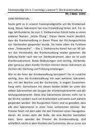 """Fastenpredigt am 4. F.sonntag (""""Laetare""""): Die Krankensalbung ..."""