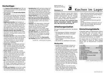 Kochen im lager jugend sport for Koch lagertechnik
