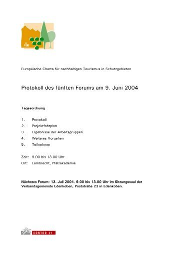 Protokoll des fünften Forums am 9. Juni 2004 - Naturpark Pfälzerwald