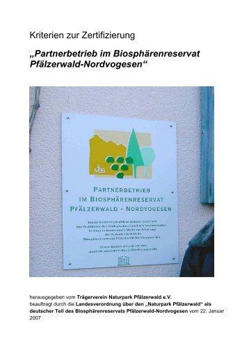 Zertifizierung und Kriterien - Naturpark Pfälzerwald