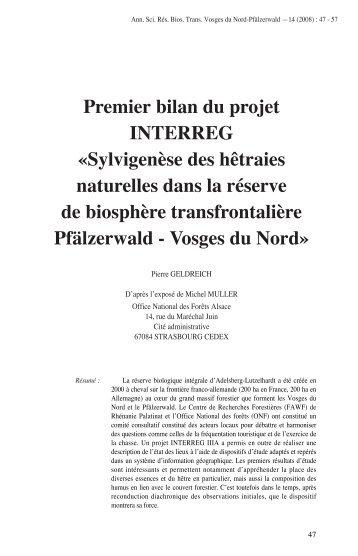 Premier bilan du projet INTERREG «Sylvigenèse des hêtraies…