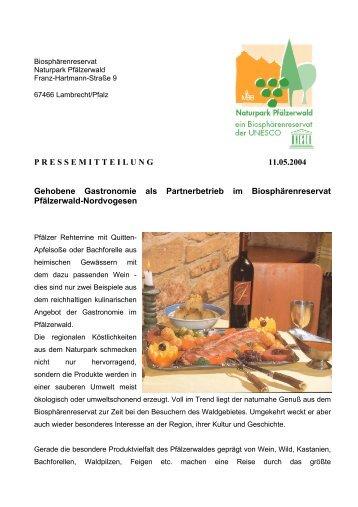 PRESSEMITTEILUNG 11.05.2004 Gehobene Gastronomie als ...