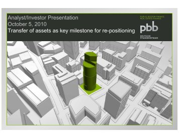 Presentation: Transfer of assets as key milestone for re-positioning