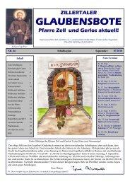 Nr. 66, Ausgabe 7, September 2010 - Pfarre Zell am Ziller - Zell