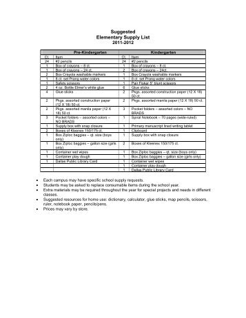 Suggested Elementary Supply List